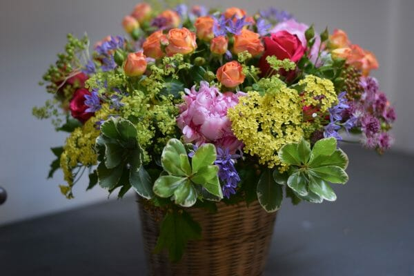 Photo showing a sample of a Bucket of flowers, Mixed colours Kensington flowers