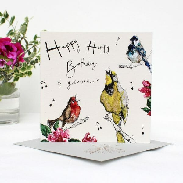 Photo of an Anna Wright Card of singing 'happy birthday' birds available at Kensington flowers