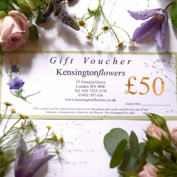 Photo showing a sample of a gift voucher to value of £50 available to purchase and redeem from Kensington flowers London