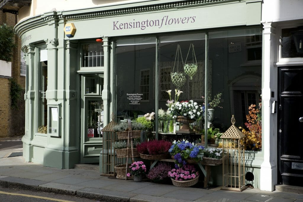 Photo showing the outside of the Kensington flowers shop London
