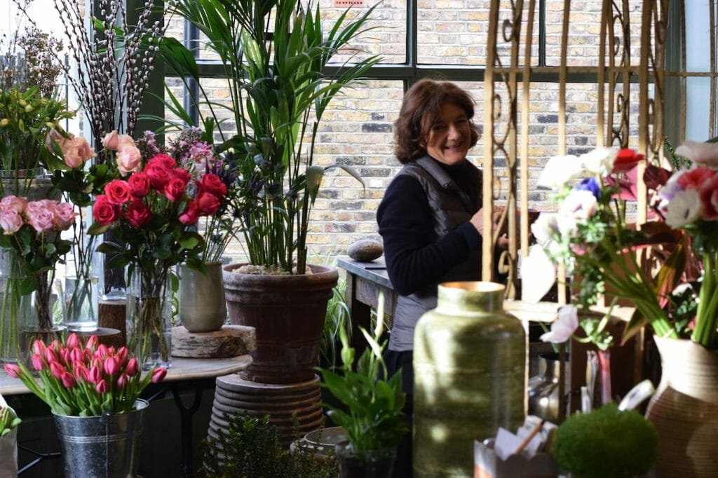 Sally working at Kensington flowers studio
