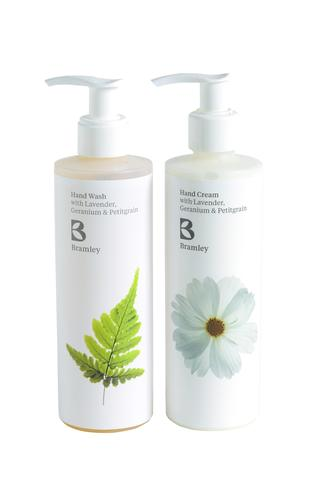 Photo showing a sample of Bramley product hand cream and hand wash available to order with flowers as a gift set from Kensington flowers London