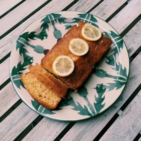 Photo showing a sample of a Balham bakes Lemon drizzle cake, available to order with flowers from Kensington flowers London as part of a gift set