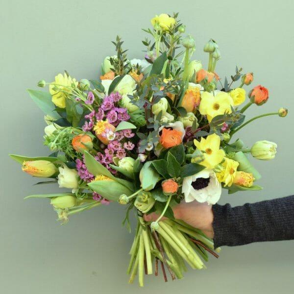 Mix-colour-spring-flower-bouquet available from Kensington flowers London