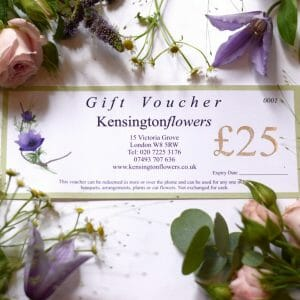 Photo showing a sample of a gift voucher to value of £25.00 available to order from Kensington flowers London